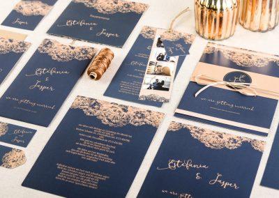 Edle Hochzeitspapeterie in Bau und Kupfer Estefania und Jasper - carinokarten